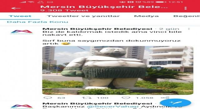Mersin'deki şişman boksör heykeli espri konusu oldu