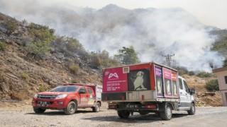 Büyükşehir ekipleri, yangından etkilenen hayvanlar için yardıma koştu